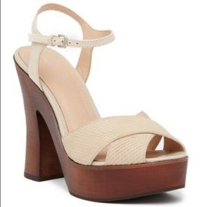 Pour La Victoire Dakota Snake-Embossed Sandal